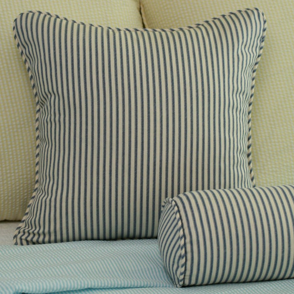 Ticking Stripe Throw Pillow Cover 18x18 Navy Black Or