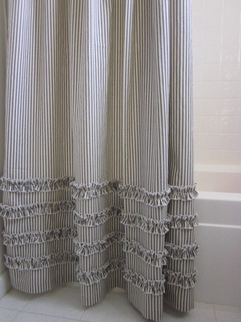 ... Vintage Ticking Stripe Shower Curtain With Ruffles | 3 Sizes | Black  Gray Navy Brown Red ...