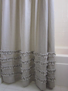 Vintage Ticking Stripe Shower Curtain with Ruffles  Extra Long  72 x 96