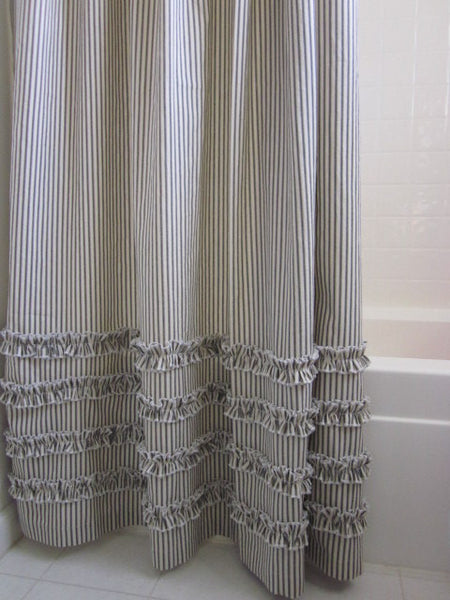Vintage Ticking Stripe Shower Curtain With Ruffles  3 Sizes Black Gray Navy Brown Red Grey 72x72 Or