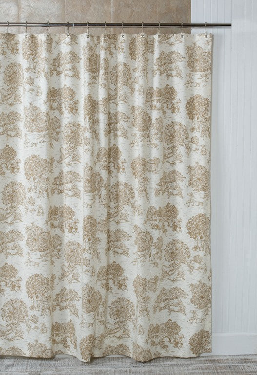 Bon Brown Toile Shower Curtain ...