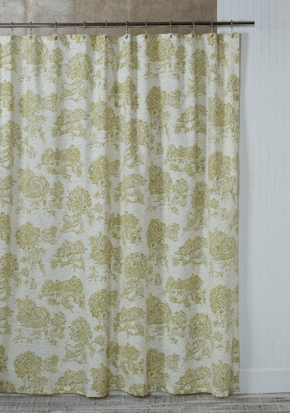 Pear Green Toile Shower Curtain With Grommets Made In USA 72x72