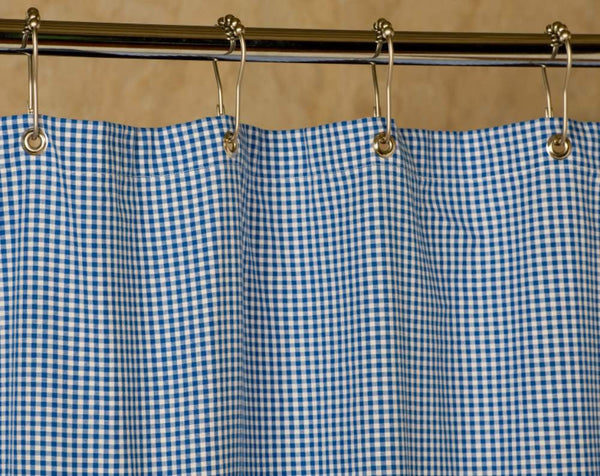 Gingham Shower Curtain | Blue and White | 72x72
