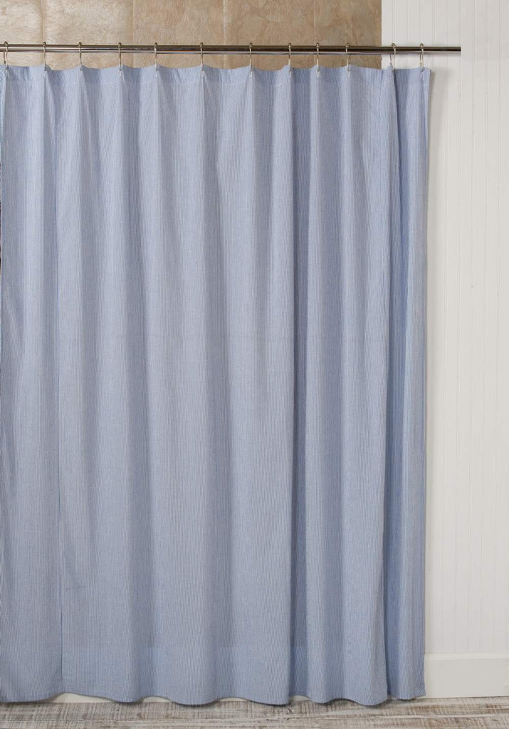 Seersucker Stripe Shower Cutain, 72x72 Dark Blue and White IN STOCK