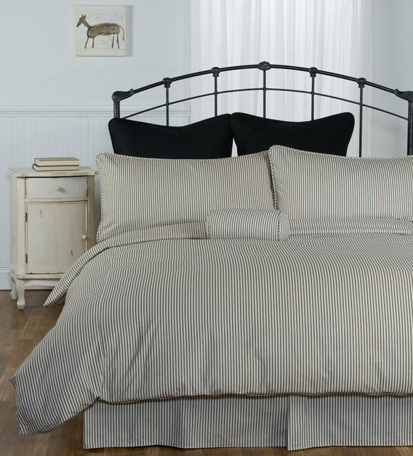 Brown Ticking Stripe Bedding and Duvet Cover
