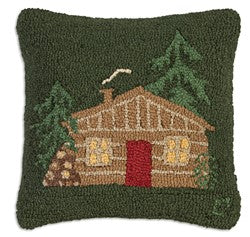 Little Cabin On Green Pillow