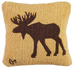 Moose Wool Hooked Pillow by Chandler 4 Corners