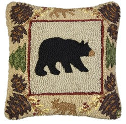 Bear Throw Pillow With Pinecone Border