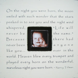 On The Night You Were Born Quote Picture Frame