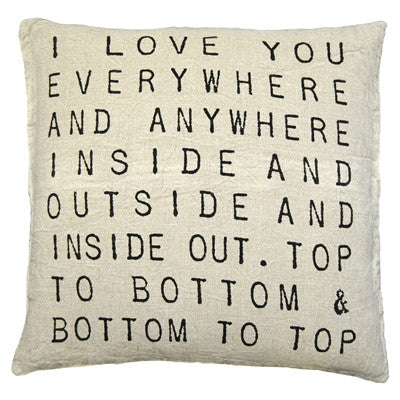 I Love You Everywhere Linen Throw Pillow by Sugarboo