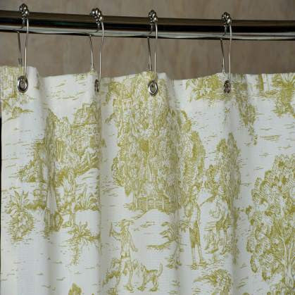 "Pear Green Toile Shower Curtain with Grommets made in USA 72""x72"""