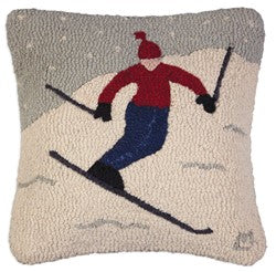 Skiing Themed Throw Pillow Wool