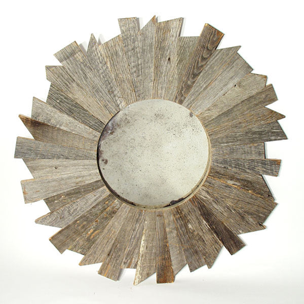 Reclaimed Barn Wood Round Mirror