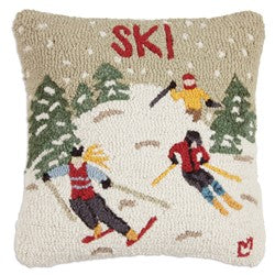 Ski Themed Throw Pillow Wool Hooked
