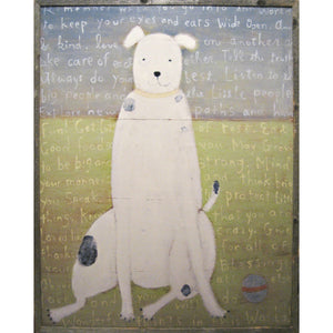 White Boy Dog - Grey Wood Frame
