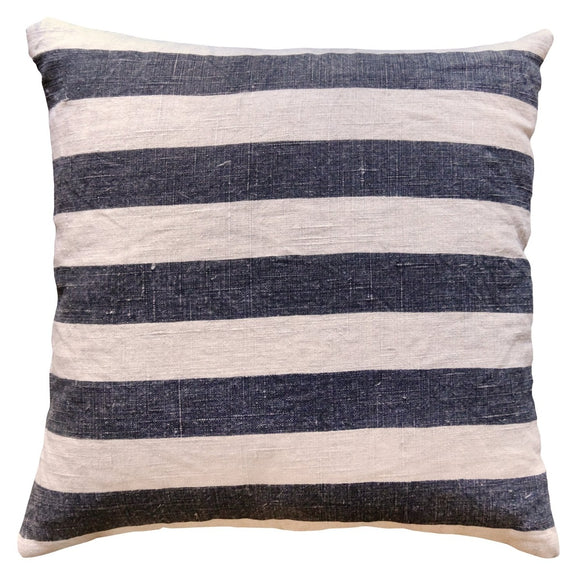 Black Stripe Linen Throw Pillow by Sugarboo