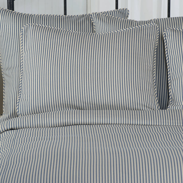 Ticking Stripe Duvet Cover Navy Black Grey Red Brown