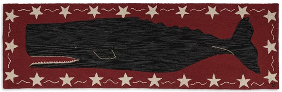 Nautical Whale Area Rug Runner Red and Black with Stars