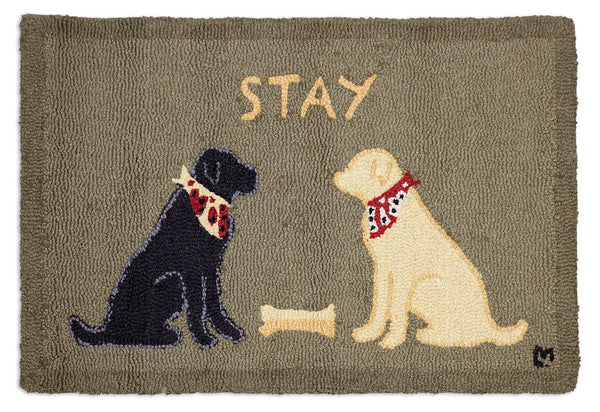 Wool Hooked Rug - Lab Stay