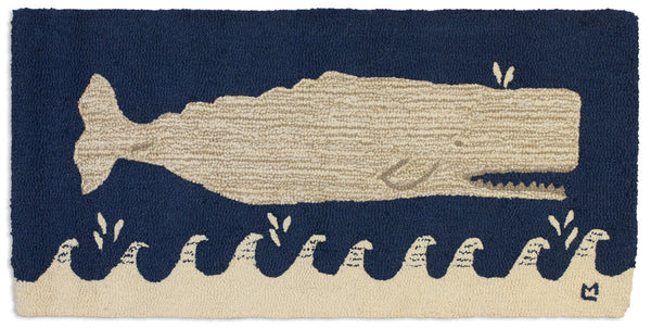 Wool Hooked Rug - White Whale