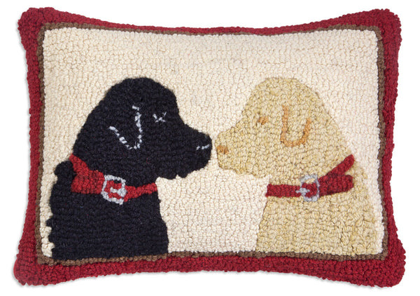wool hooked throw pillow two labs dog pillow