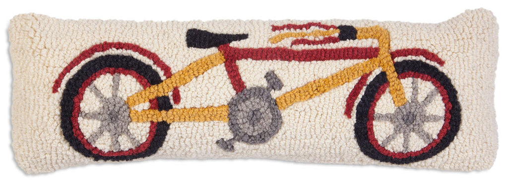 Wool Hooked Throw Pillow - Pillow, Bike