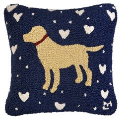 Yellow Lab Throw Pillow with Hearts