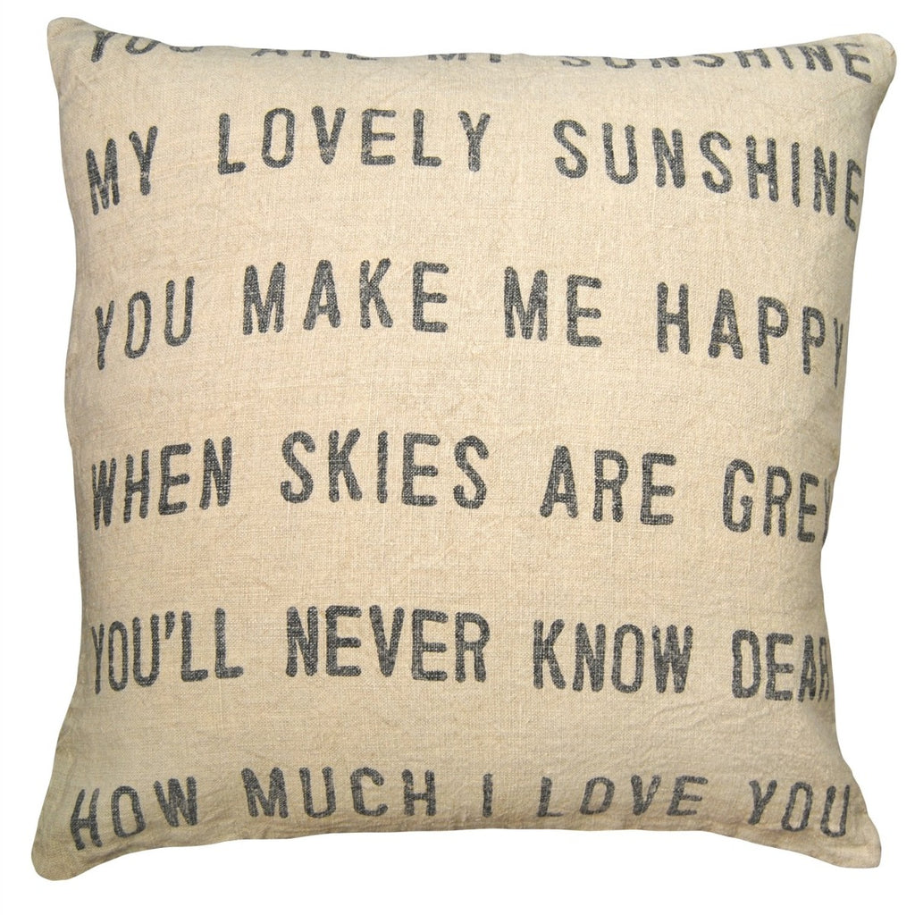 Stonewash Linen You Are My Sunshine Pillow