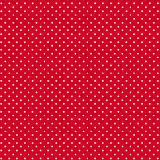 Bright red with white polka dots