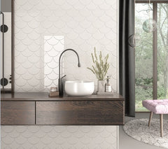 Bondi White Fan Tile in Bathroom