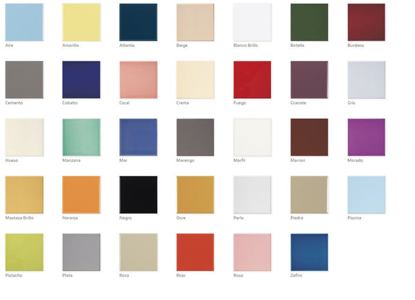 Image of colours available in Metro Tiles