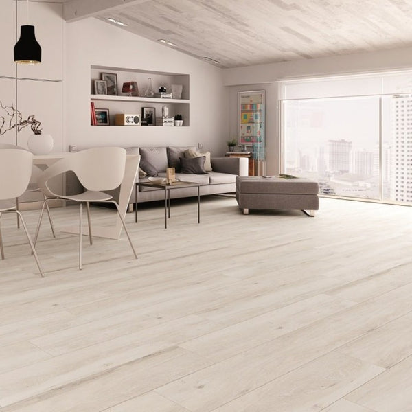White Wood Effect Floor Tile