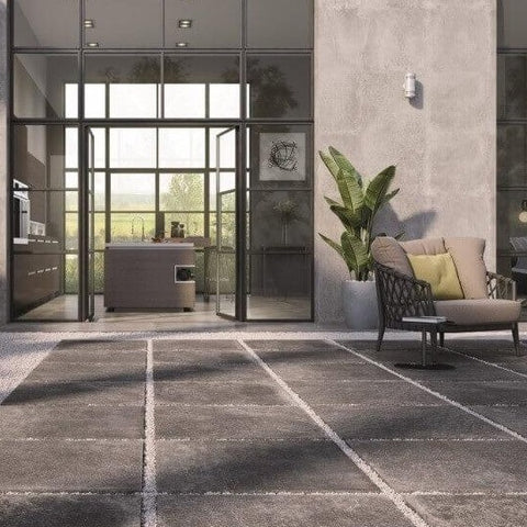 Aston Dark Outdoor Tile in Modern Courtyard