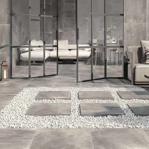 Aston Perla Floor Tile in Modern Setting
