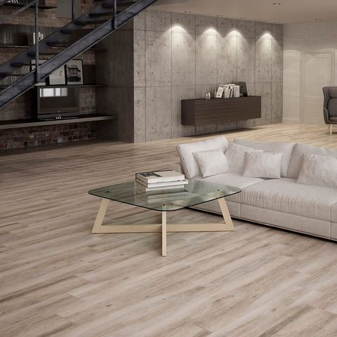 Atelier Taupe Wood Effect Tiles in Modern Living Room