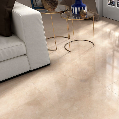 Avenue Large Cream Floor Tiles with White Armchair