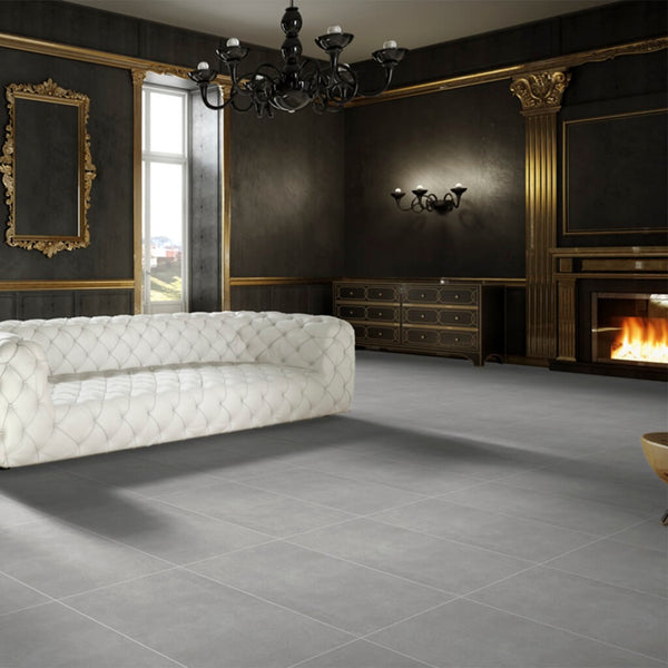 Blendstone Porcelain Large Grey Floor Tiles in Regal Setting