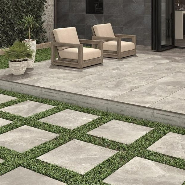 Burning Grey 2cm Thick Outdoor Tiles in Garden