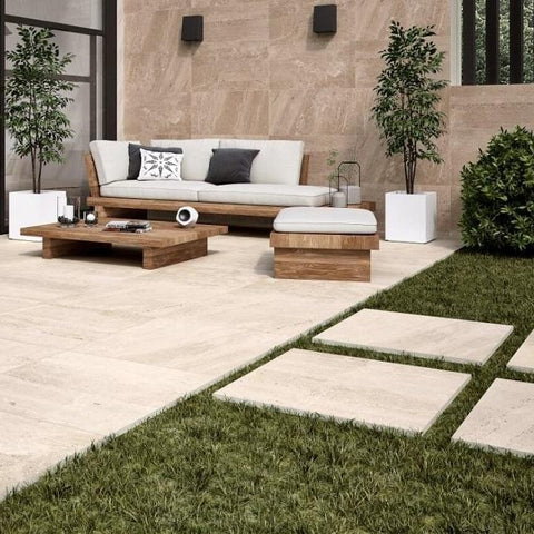 Burning Sand Outdoor Tile in Trendy Suburban Garden