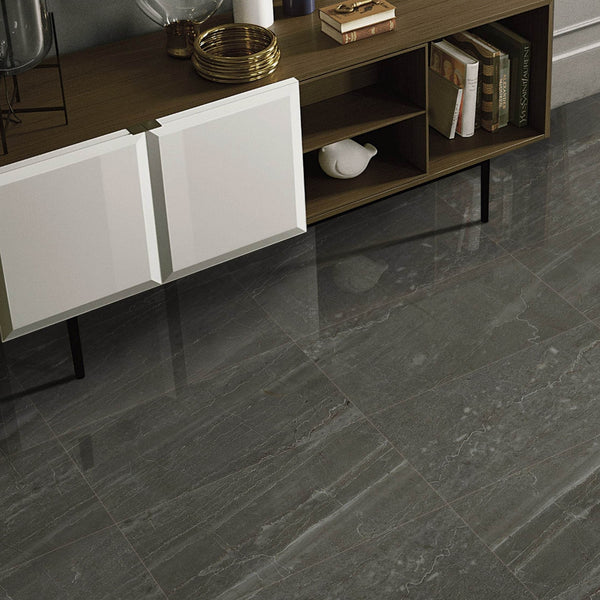 Colonial Celedon Floor Tile with modern sideboard