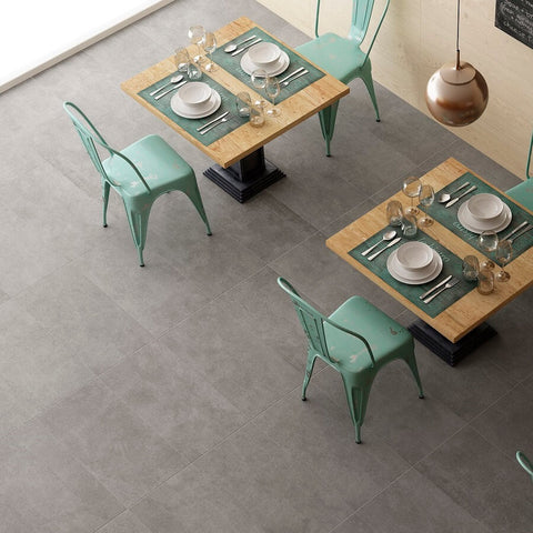 Graphite Clay Floor Tiles in Modern Restaurant Ready for Diners