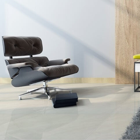 Tile Devil's Congress Porcelain Floor Tiles with Black Chair