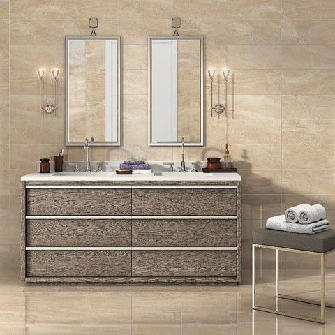 Kenia Marfil Tile in Bathroom