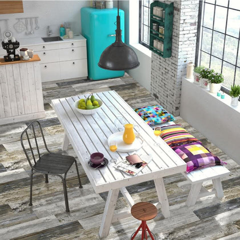 Etro Distressed Wood Effect Tiles in Rustic Retro Kitchen