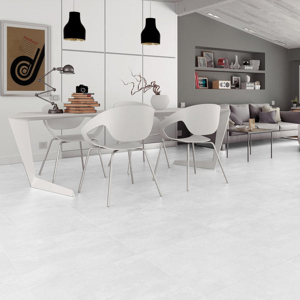 Factory Large White Floor Tiles in Uber Modern Home