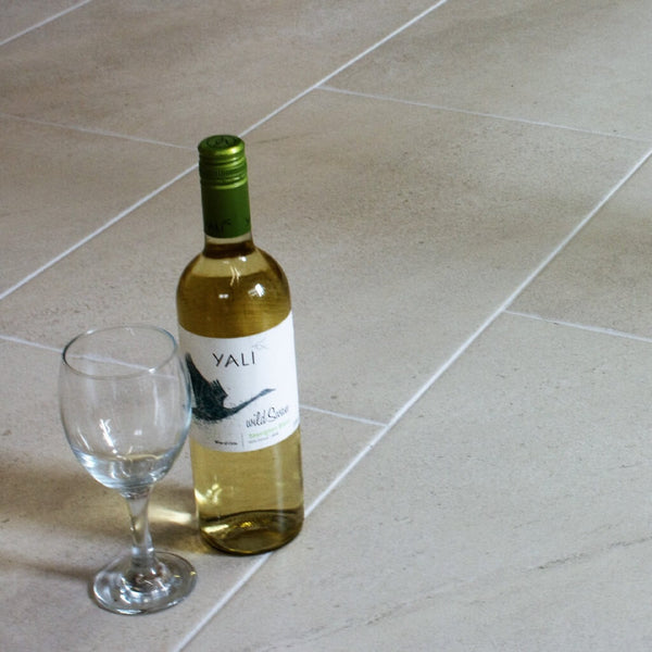 Hermes Large White Floor Tiles with Bottle of Wine and Glass