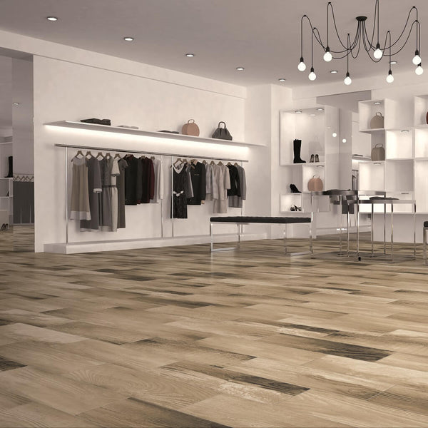 Kerala Wood Effect Tiles on High Street Fashion Shop Floor