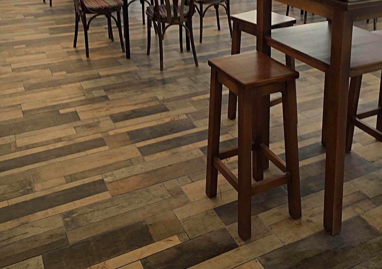 Madera wood effect tiles 20 x 60 cm madera beige wood effect floor tiles with wooden stool and chairs dailygadgetfo Choice Image