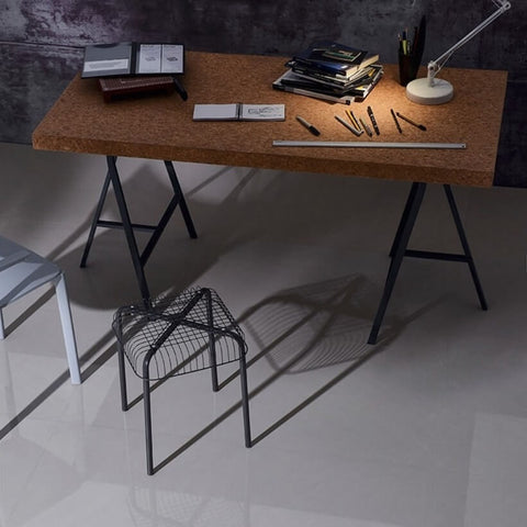 Maryland Marble Effect Floor Tiles with Designer Desk and Stool