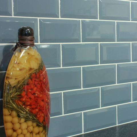 Metro Wall Tiles for Kitchens with Spice Jar - Blue Mist 7.5 x 15